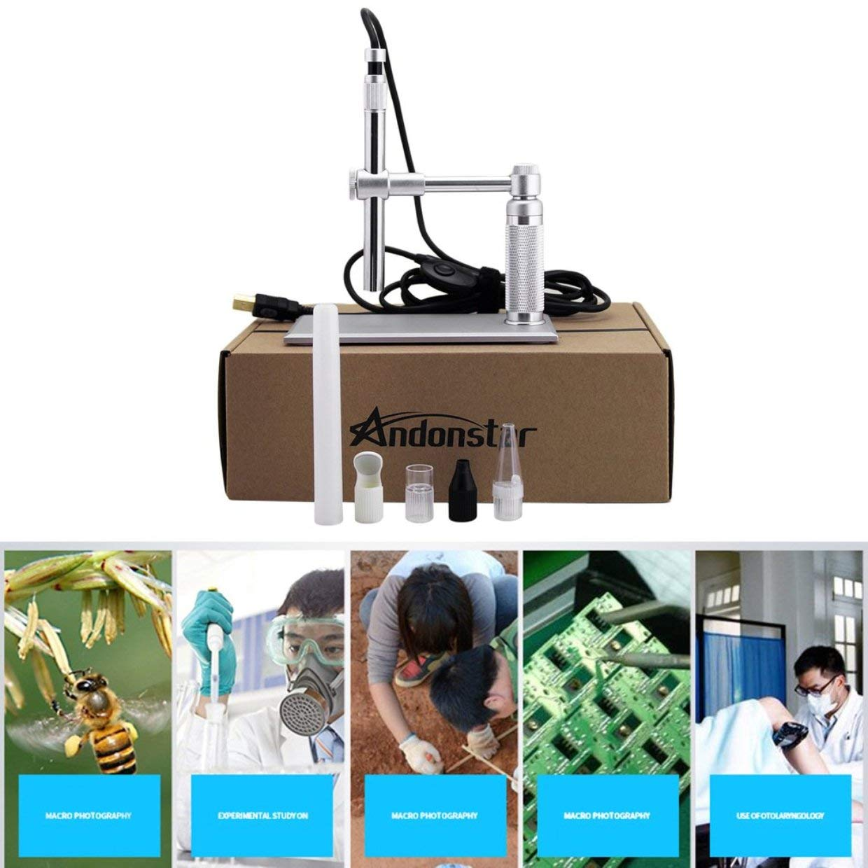 Qewmsg Andonstar 500x USB Herramienta de Mantenimiento de la Placa de Circuito de Alta definici/ón Digital electr/ónico Microscopio Electr/ónico de la Lupa del endoscopio 8LED para
