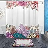 U LIFE Ocean Sea Aquatic World Coral Fish Animal Shower Curtain Set and Bathroom Area Rugs Mats 60 x 72 inch