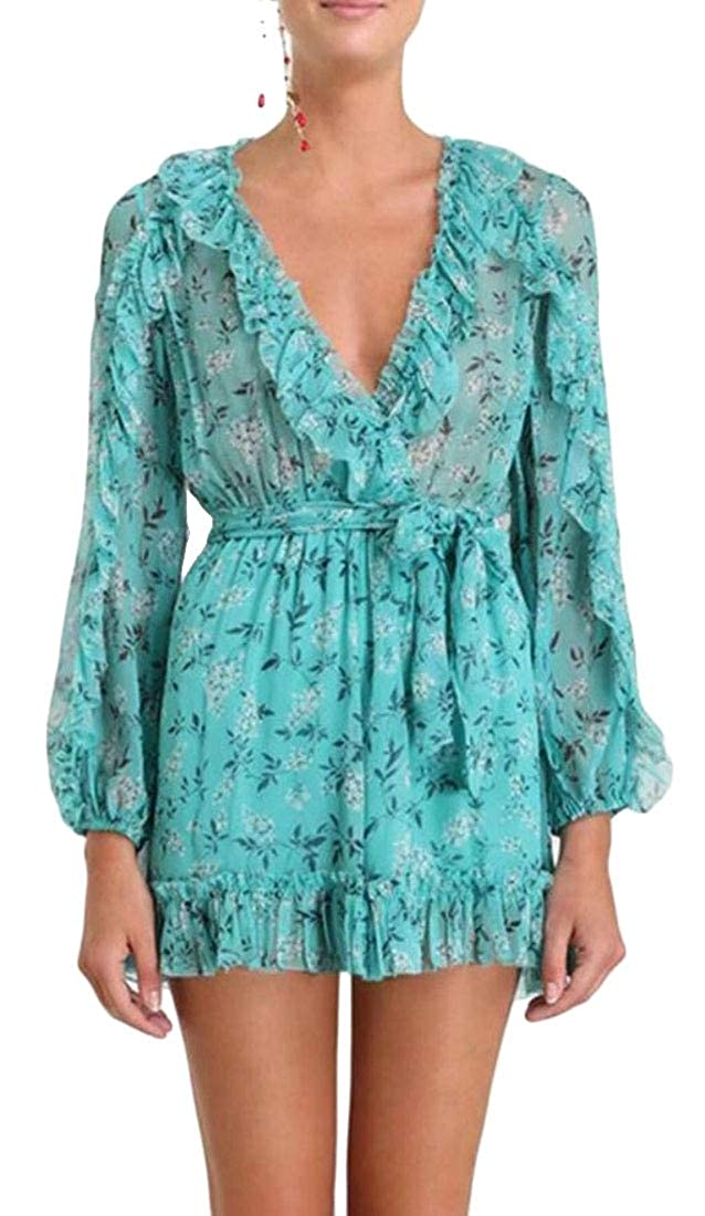 Pandapang Womens V Neck Relaxed Short Ruffle Belted Print Pleated Chiffon Playsuit Jumpsuits