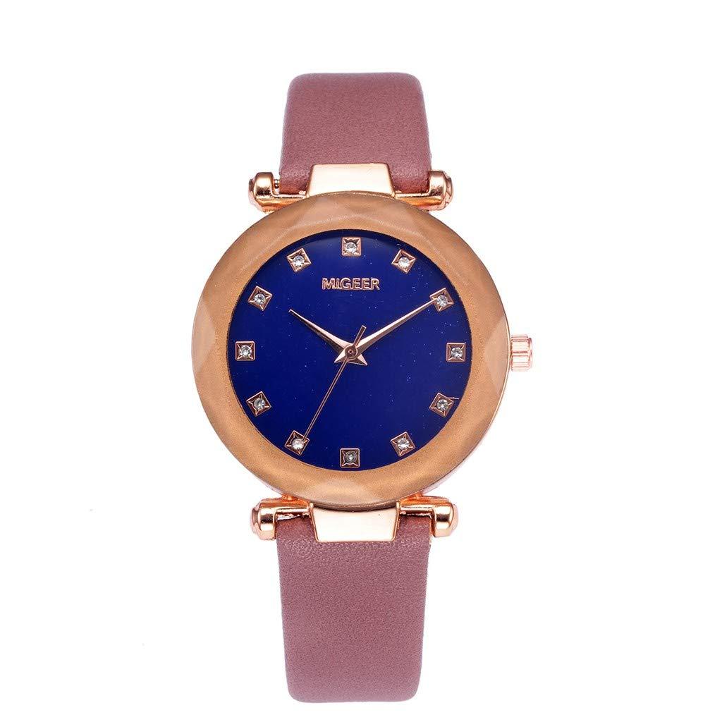 Kanpola Relojes de Cuero de Cristal Convexo señoras del Cuarzo Reloj de Pulsera: Amazon.es: Relojes