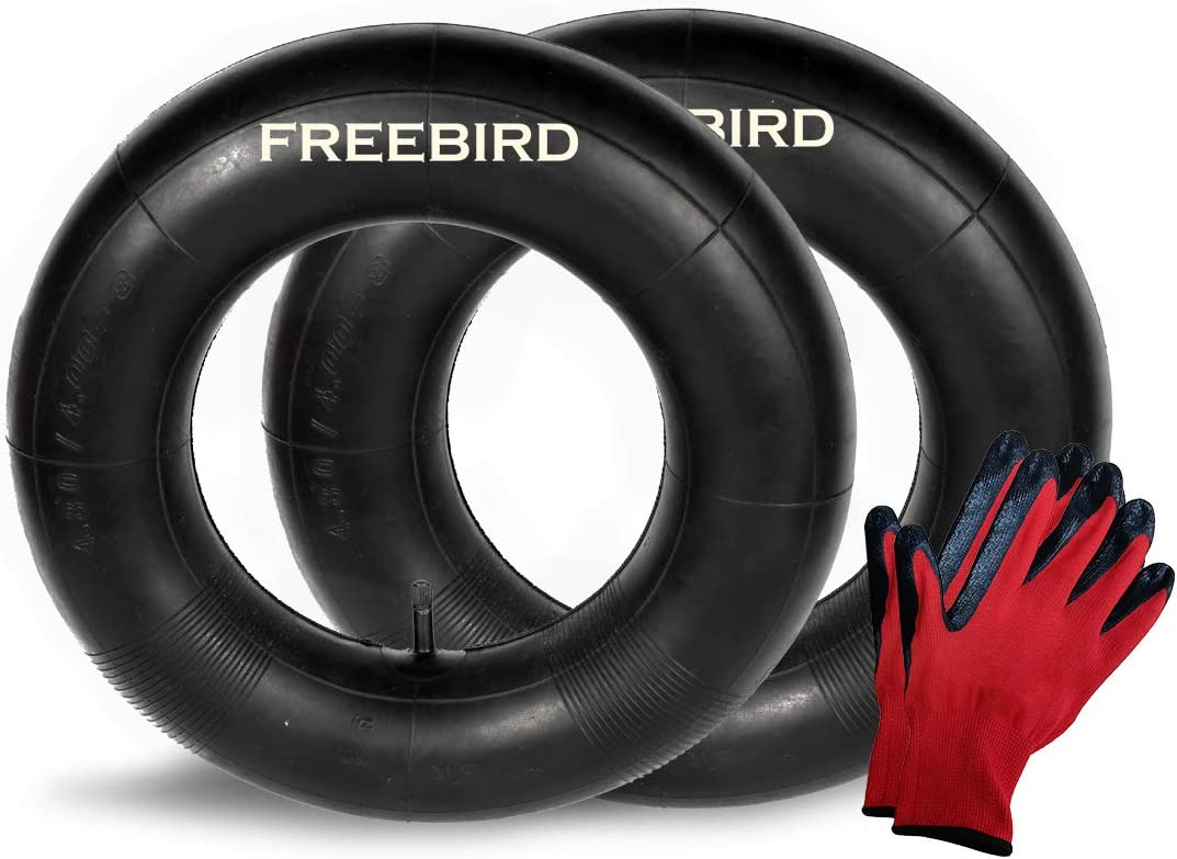 """Freebird 2 Pack of 4.80/4.00-8"""" Replacement Inner Tubes for Pneumatic Tires with Straight Valve Complete with Nitrile Gloves Set"""
