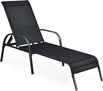 Tangkula Patio Chaise Lounge, Recliner Outdoor Lounger Chair w/Adjustable Backrest, Reclining Chair w/Heavy Duty Steel Frame, Suitable for Beach, Yard, Balcony, Poolside (1, Black)