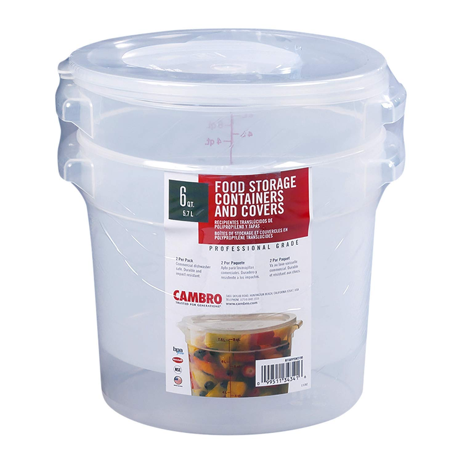 Cambro Round Translucent Container with Lid (6 qt, 2 pk.)