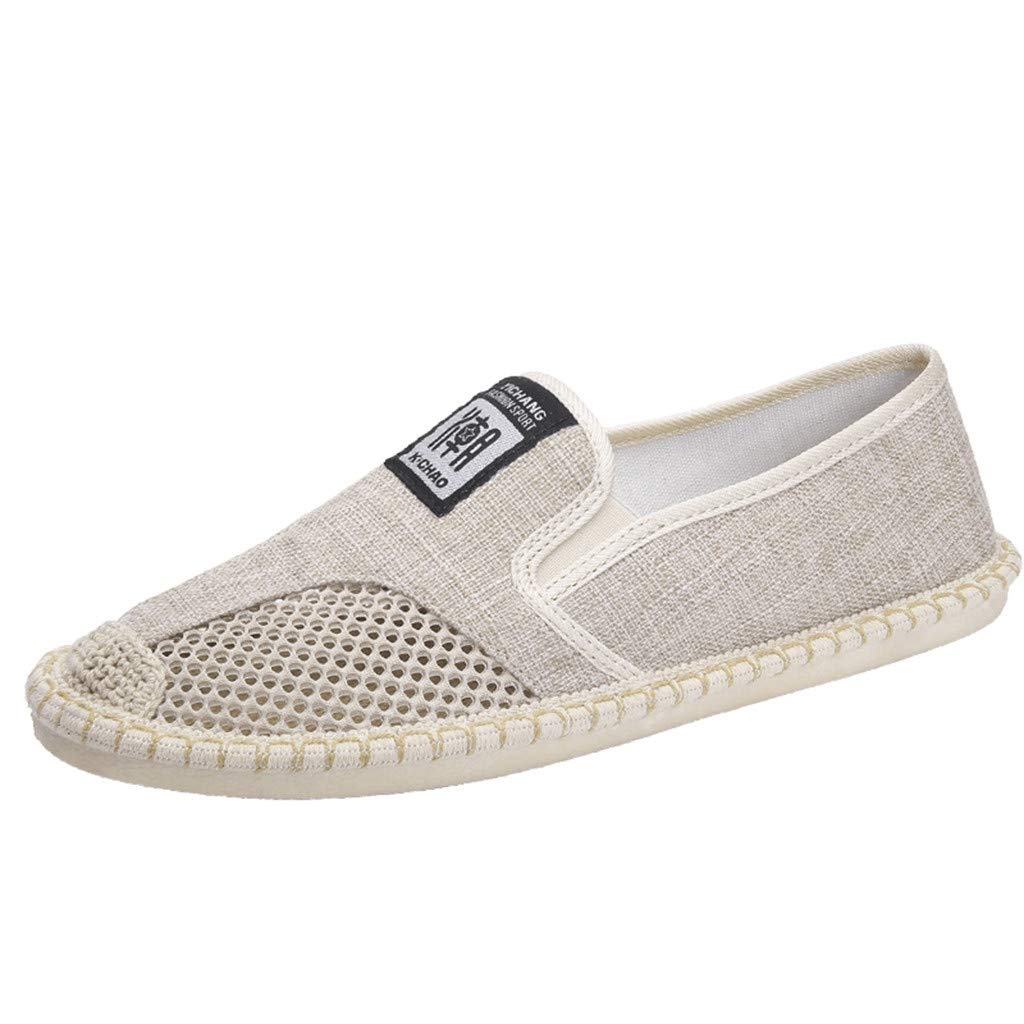 〓COOlCCI〓Men's Loafers & Slip-Ons, Lightweight Slip On Driving Shoes,Hollow Out Flats Shoes,Low Linen Fashion Sneakers Beige by COOlCCI_Men Shoes