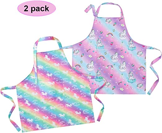 PERSONALISED UNICORN CLOUD RAINBOW POLYESTER CHILDS APRON BIRTHDAY GIFT PARTY