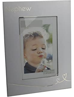 two tone brushed silver nephew 6 x 4 picture frame by haysom interiors