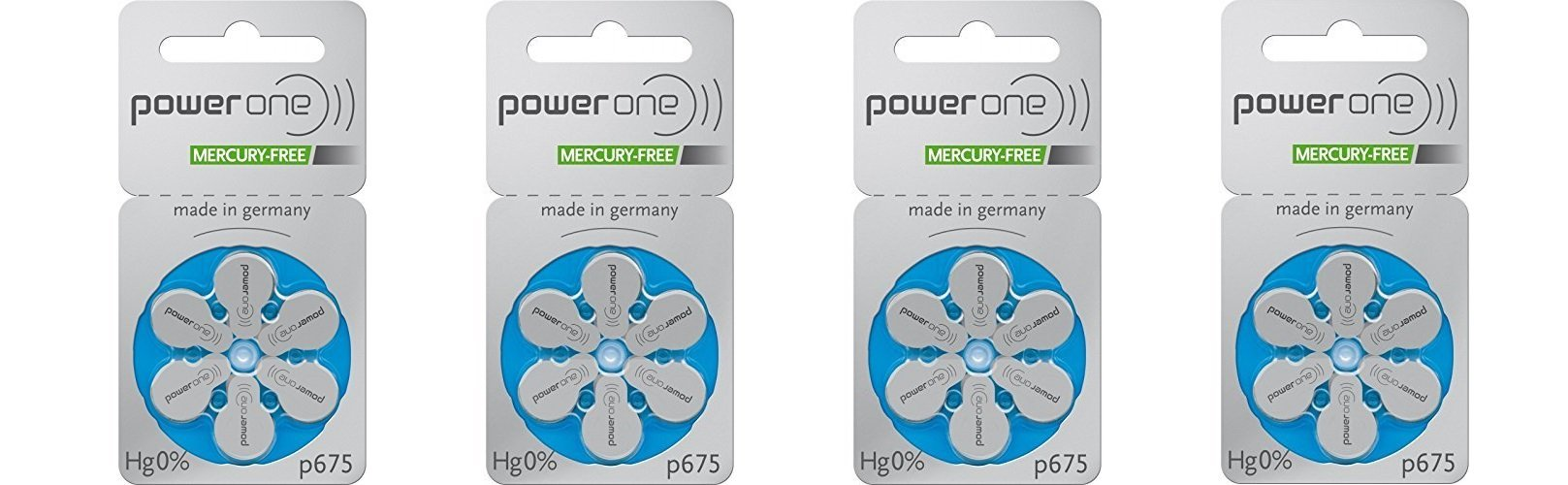 60 Powerone Hearing Aid Batteries No Mercury Size-675, 4 Pack (Batteries)