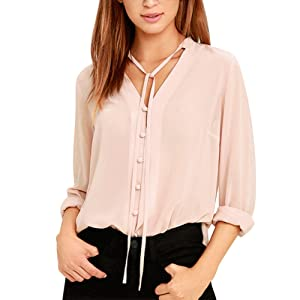 Timall Women's V-neck Casual Loose Chiffon Tops Pink Long Sleeve Blouse S-XXL