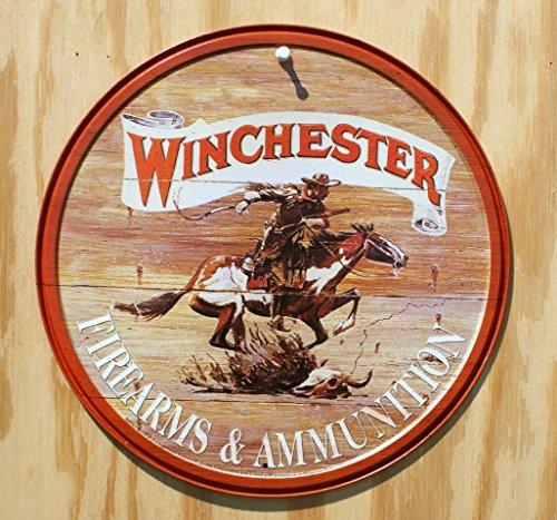 Winchester Firearms Ammunition Cowboy on Horse Rider Round Retro Vintage Tin Sign