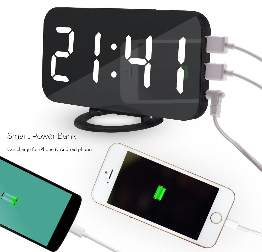 LED Clocks Bedroom Clocks Kidsidol 2 In 1 Digital Alarm Clock Brightness Adjustable Dimmer and Smart Power Bank Design With Two USB Charge Port and One Power Cord Port for Home Office Travel