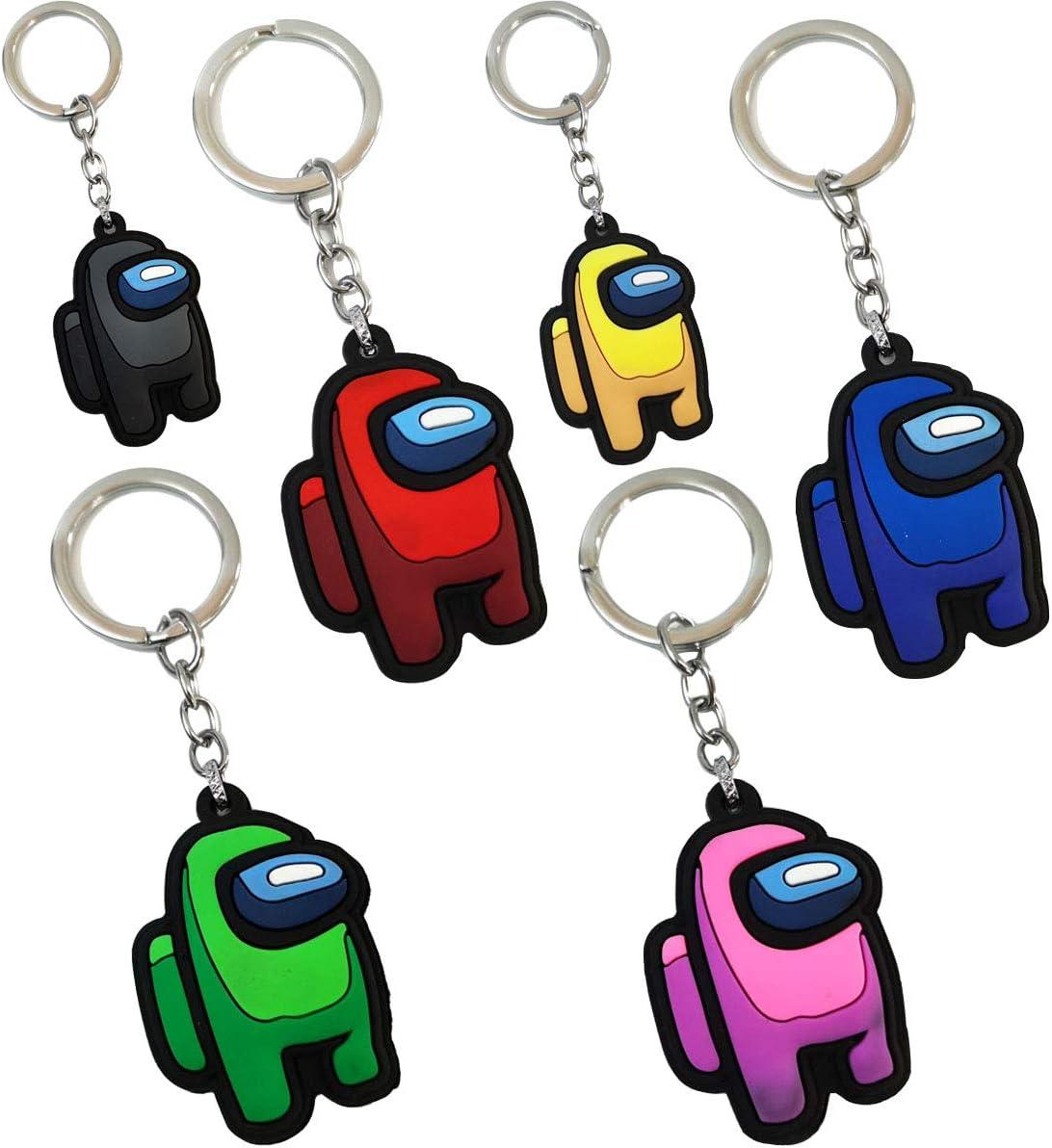 6 Pcs Amongg us Character Keychain,Cute Key rings Pendant Decor Christmas Gifts Christmas Tree Decor Pack