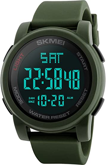 dc1f533157ed Image Unavailable. Image not available for. Color  Men s LED Digital Chrono  Countdown Luxury Military Watches Green