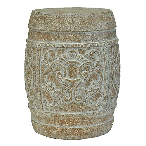 19-1/2 in. H Cast Stone Carved Garden Stool in White Wash Terracotta (Planters Cast Terra)