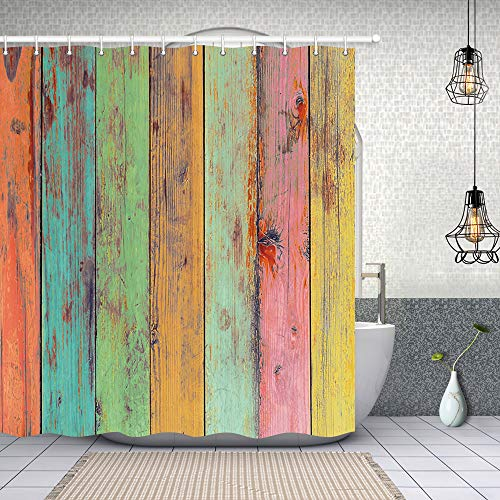 NYMB Vintage Colorful Wallpaper Artwork Painted on Wood Shower Curtain 69X70 inches Polyester Fabric Shower Curtain Bathroom Fantastic Decorations Bath Curtains Hooks Included