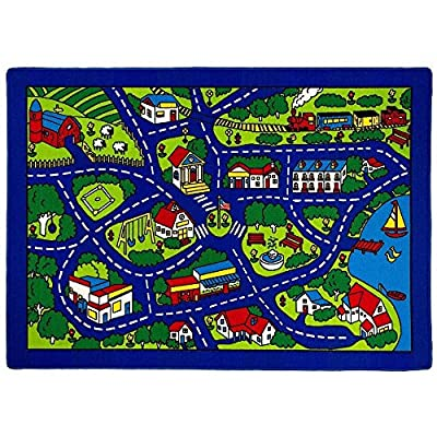 Kids/Baby Room/Daycare/Classroom/Playroom Area Rug Blue City Roads Map Train Tracks Cars Play Mat Fun Educational Non-Slip Gel Back. (5 Feet X 7 Feet): Toys & Games
