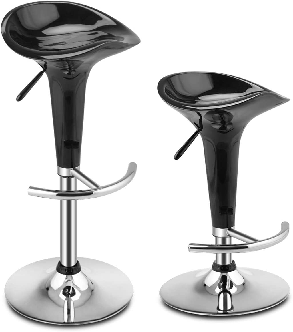 Giantex Set of 2 Bar Stools with Ergonomic ABS Seat, U-Shaped Footrest and Heavy Duty Metal Base, Adjustable Swivel Kitchen Counter Stools Dining Bar Chairs Black