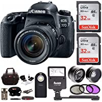 Canon EOS 77D w/ 18-55mm Lens + Flash, Filters, Auxiliary Lenses & 64GB Bundle