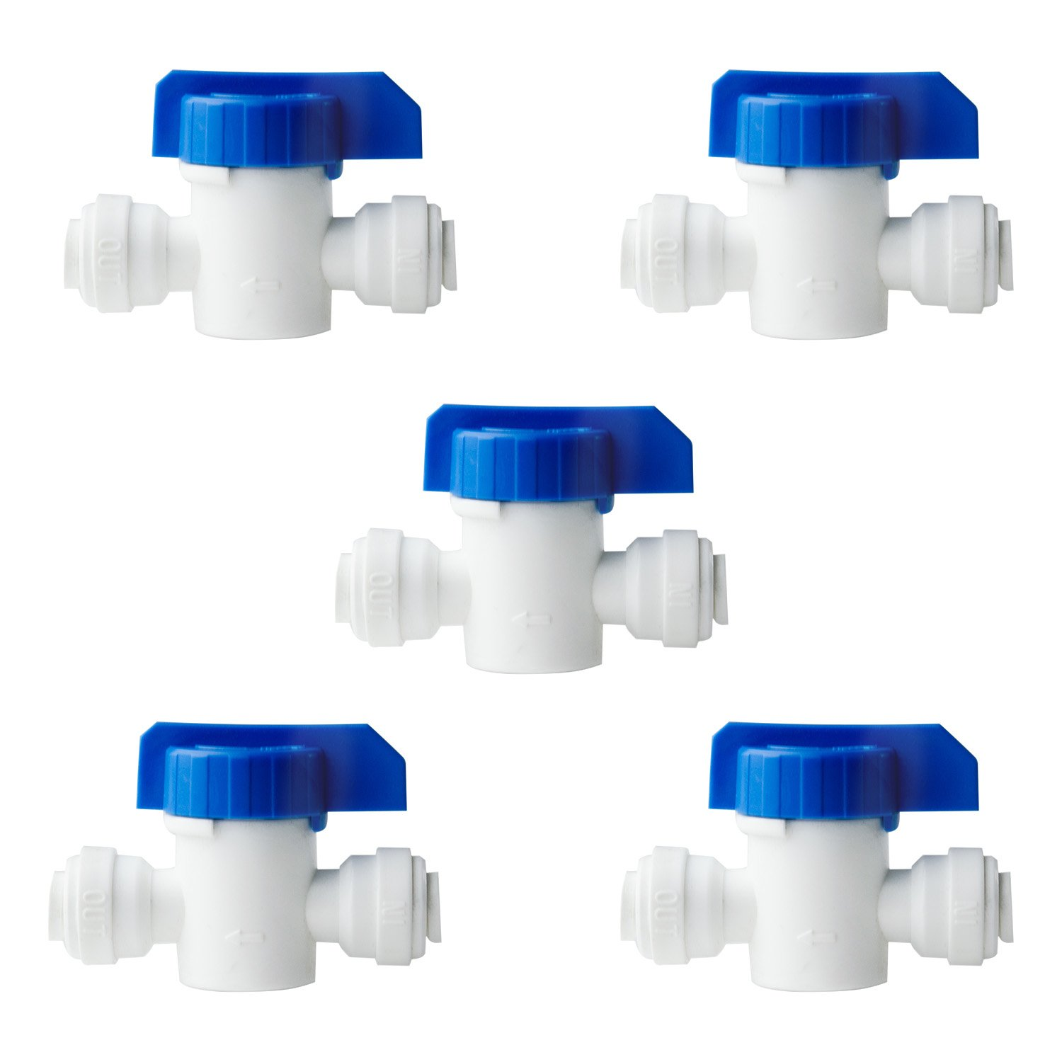 iSpring ABV1KX5 ABV1K Inline Ball Valve with Quick Fitting 1/4'' to 1/4'' fits most RO Water Systems, White