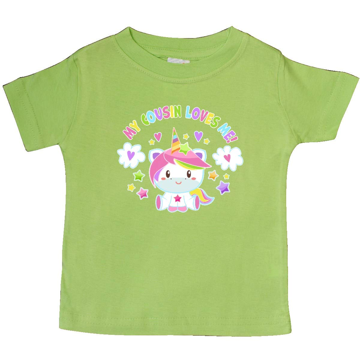 inktastic My Cousin Loves Me with Cute Rainbow Unicorn Baby T-Shirt