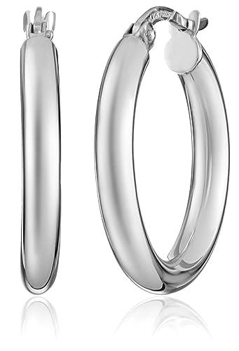 14k White Gold Hoop Earrings Amazon Co Uk Jewellery