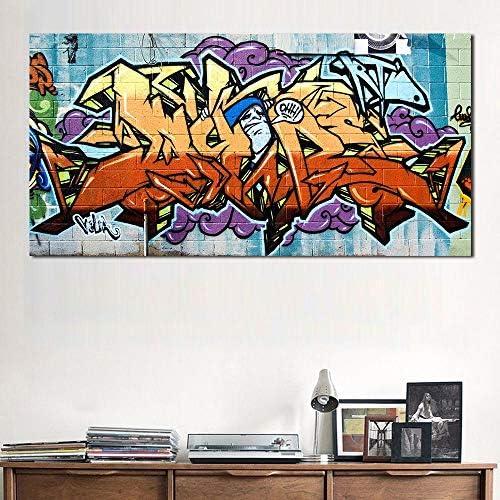 ワイルドスタイル落書き絵画ストリートキャンバスアート壁写真用リビングルーム家の装飾プリント50×100センチなしフレーム