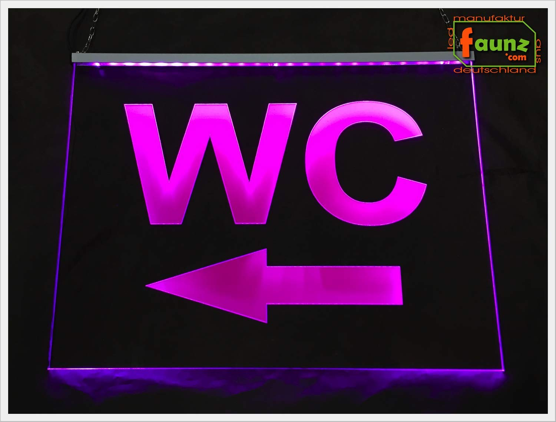 "opak oder foliert//Farbe Pfeil nach links/"" pink diverse Gr/ö/ßen Netzteil 230-12V Richtung Montage w/ählbar inkl LED Leuchtschild Acrylglas-Gravur /""WC ca. L 32 // H 22 cm, 4W"