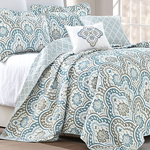 Serenta Tivoli Ikat Design 5 Piece Teal Aqua Printed Prewashed Quilted Coverlet Bedspread Bed cover Summer Quilt Blanket with Cotton Polyester Filled Embroidery Pillow Set, Queen
