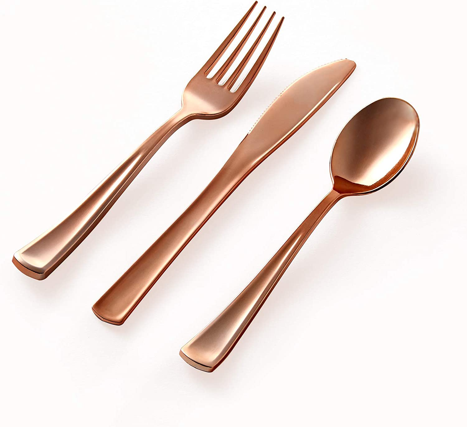 303pc Rose Gold Plastic Cutlery Set - Premium Disposable Flatware 100 Knives, 100 Forks, 100 Spoons and 3 pc Serving Set for Weddings or Party (303pc Cutlery, Rose Gold)