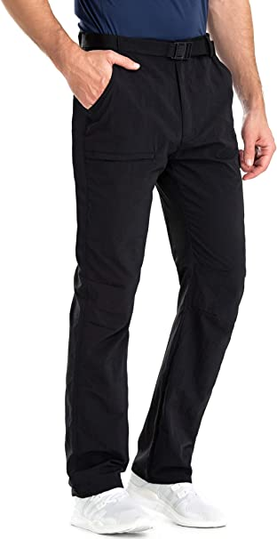 Clothin Mens Belted Side-Elastic Cargo Pants Water-Resistant Quick-Dry Lightweight