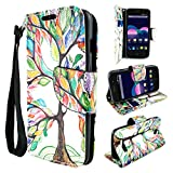 ZTE ZMAX 2 Case, Customerfirst - ZTE ZMAX 2 Dual-Use Flip PU Leather Fold Wallet Pouch Case Cover for ZTE ZMAX 2 - Includes Key Chain (Dreamy Tree)