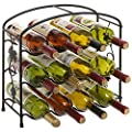 Modern Grapevine Design Black Freestanding Metal 12 Bottle Wine Storage Shelf Rack/3-Tier Wine Holder