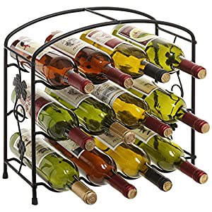 Modern Grapevine Design Black Freestanding Metal 12 Bottle Wine Storage Shelf Rack / 3-Tier Wine Holder