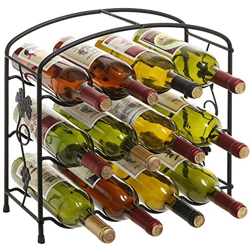 Modern Grapevine Design Black Freestanding Metal 12 Bottle Wine Storage Shelf Rack / 3-Tier Wine Holder (12 Bottle Wine Rack Black)