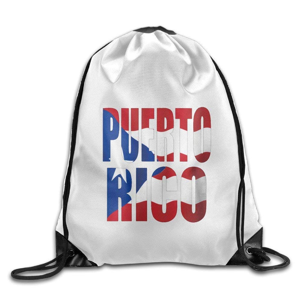 Unisex Puerto Rican Flag Map Sports Drawstring Backpack Bag
