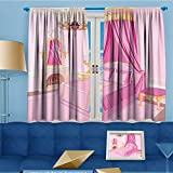 SCOCICI1588 Alta Pine Forest Design Collection,Teen Interior Of Princess Bedroom ed Ornament Pillow Lamp Mirror,Living Kids Girls Room Curtain,108''W By 63''L Pair