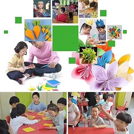 Papel de origami, 500 hojas cuadradas de papel para grúa, rosa, flores, aviones, corazones, manualidades, decoración para fiestas y regalos (6 x 6 ...