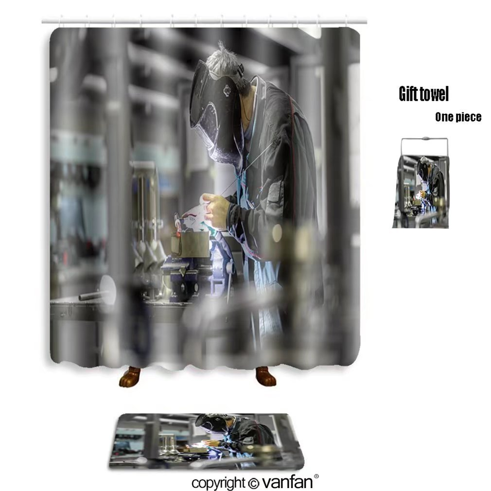 vanfan bath sets with Polyester rugs and shower curtain industrial worker with protective mask weldin shower curtains sets bathroom 36 x 78 inches&23.6 x 15.7 inches(Free 1 towel and 12 hooks)