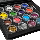 Bo Buggles Professional Face Paint Kit + 50 Stencils. Water-Activated XL Face Painting Palette. Loved By Pro Painters For Vibrant Detailed Designs. 12x10 gram Paints, 4x10ml Glitters, 2 Brushes.