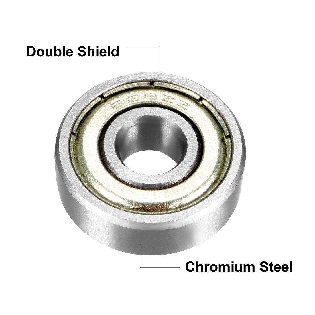 uxcell R1660ZZ Deep Groove Ball Bearings 6mm Inner Dia 16mm OD 5mm Bore Double Shielded Chrome Steel Z2 10pcs