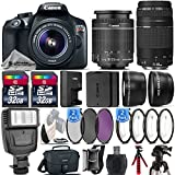 Canon EOS Rebel T6 DSLR Camera + 18-55mm IS II Lens + Canon 75-300mm Lens + Flash + 0.43X Wide Angle Lens + 2.2x Telephoto Lens + 64GB Storage - International Version (No Warranty)