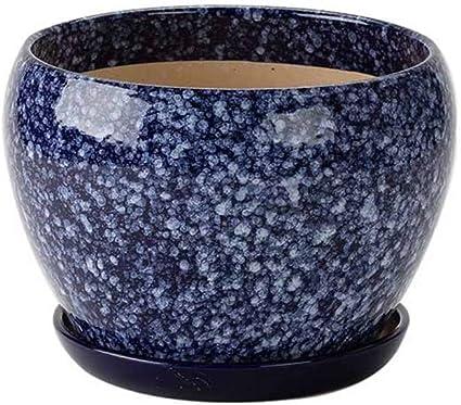Navy Flower Pot with Matching Saucer