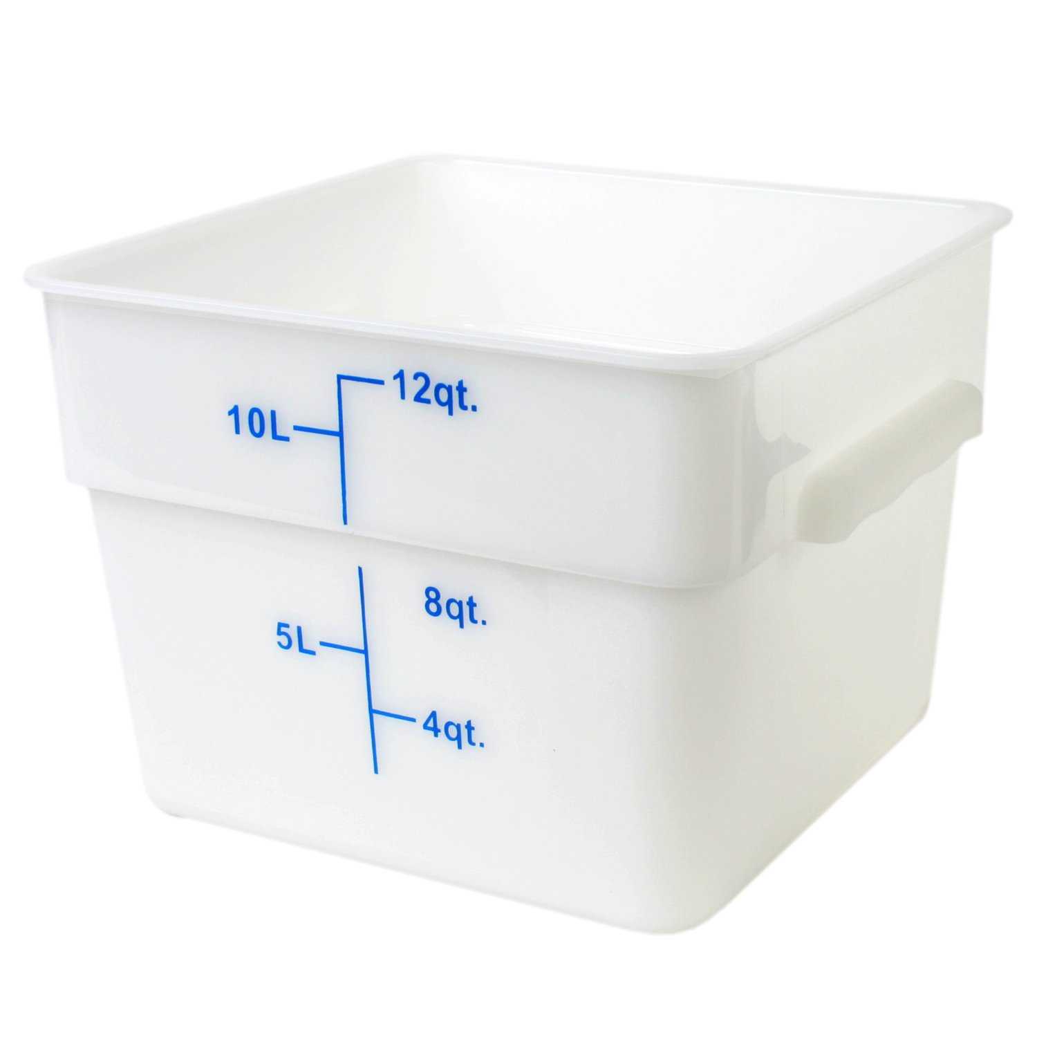 Excellante 12-Quart Polypropylene Square Food Storage Containers, White PLSFT012PP