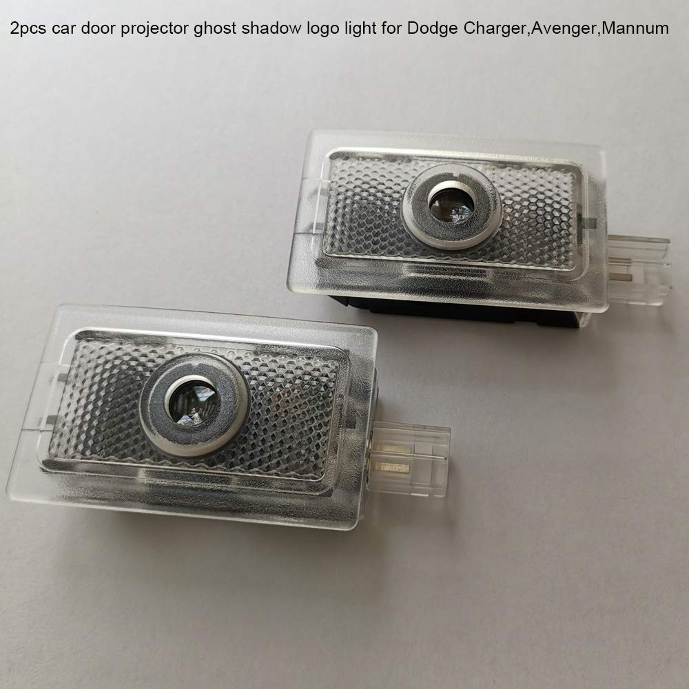 2pc Car Door Lights Ghost Shadow Projector Laser Logo light For Dodge Charger 2006-2019 white,plug and play no need drill