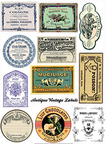 Assorted Vintage Ephemera Apothecary Vintage Label Images on Collage Sheet for Photo Art, Scrapbooking, Collage, Decoupage
