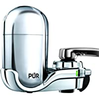 PUR Advanced Faucet Water Filter, Chrome, Vertical, LED Indicator for Filter Status, Carbon Filter Lasts Up to 3 Months (100 gal.), Fits Standard Faucets, Easy Installation No Tools Required, FM-3700B