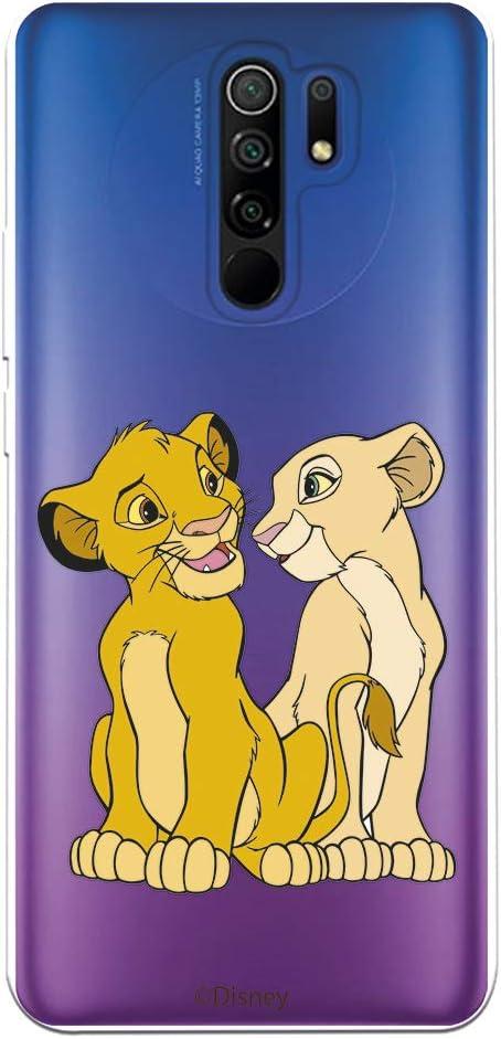 Funda para Xiaomi Redmi 9 Oficial de El Rey León Simba y Nala Silueta para Proteger tu móvil. Carcasa para Xiaomi Redmi 9 de Silicona Flexible con Licencia Oficial de Disney.