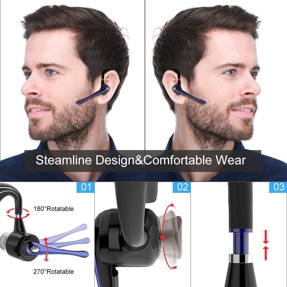 Bluetooth Headset Support iPhone//Android Cellphones Handsfree Wireless Earpiece V5.0 in-Ear w//c Mic and Mute Key for Business//Driving Call
