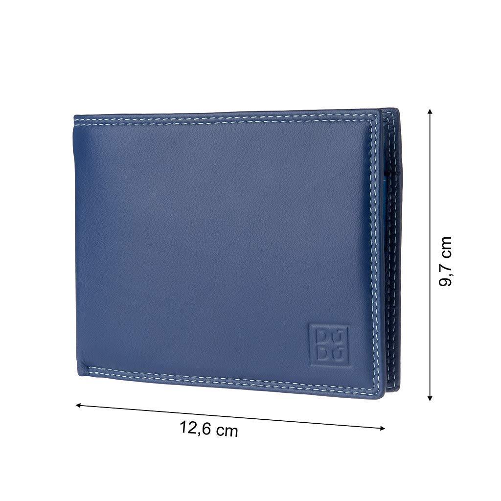 DUDU Portafoglio uomo RFID schermato Colorato in Vera Pelle formato Classico con Portamonete e Porta carte di credito Blu Dudu Bags 8031847164558