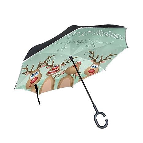 COOSUN Canto de Navidad Capa de dibujos animados ciervos doble del paraguas invertido inversa para el