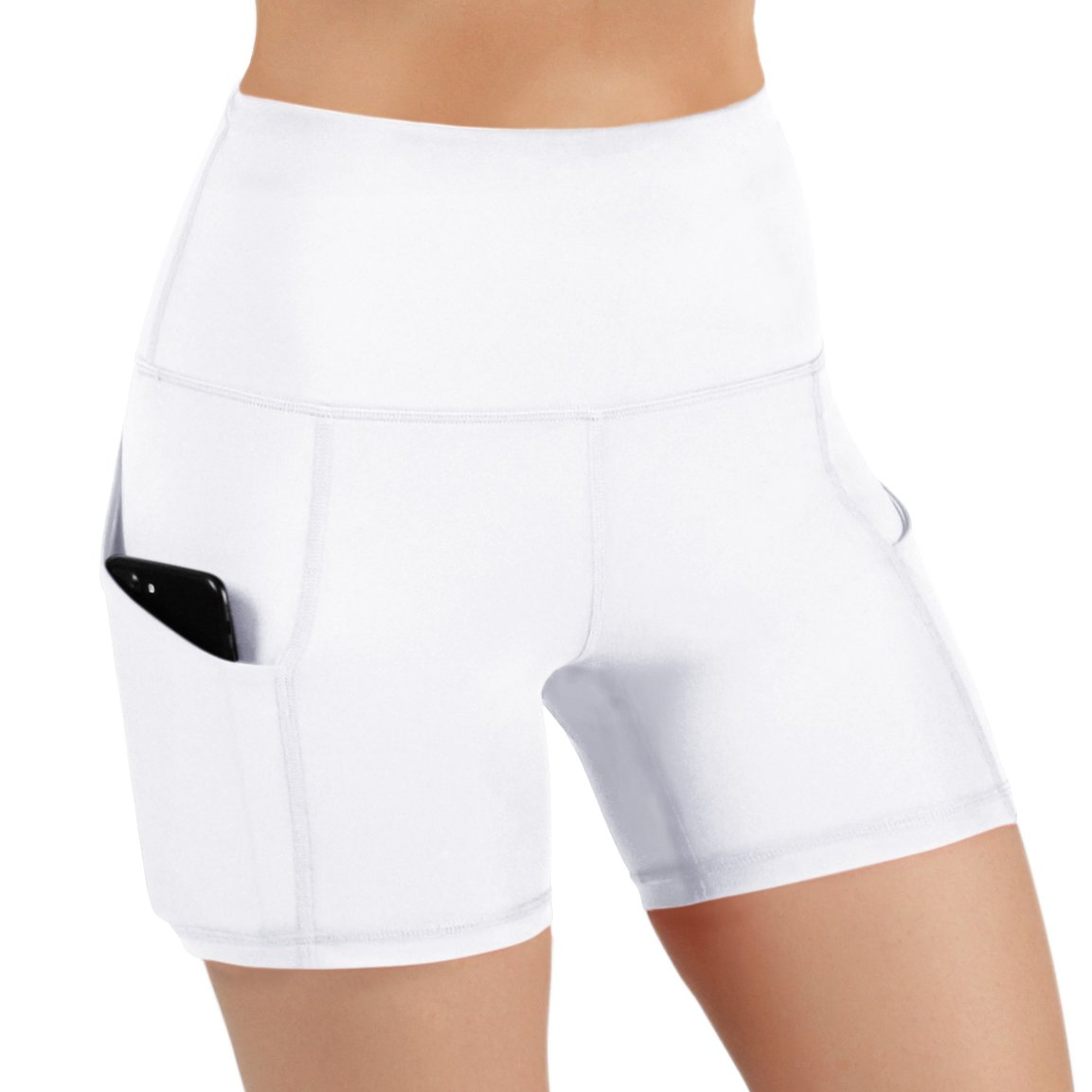 ODODOS High Waist Out Pocket Yoga Shots Tummy Control Workout Running 4 Way Stretch Yoga Shots, White, Large